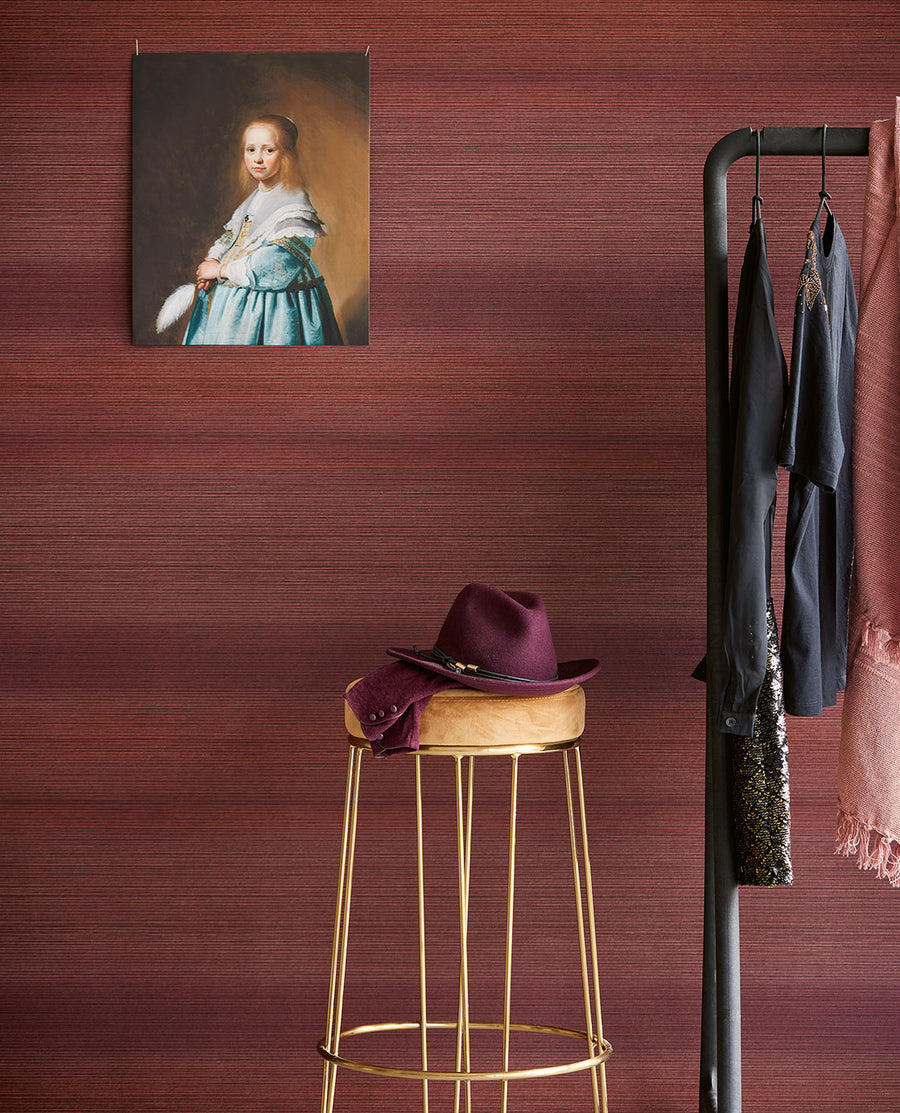 Tate Ombre Berry Stripe Wallpaper