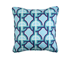 Dynasty aqua blue linen fabric as cushion