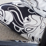 Elsie Onyx Black Art Deco Linen Fabric Detail