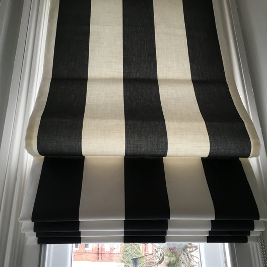 Maxi Black Stripe Linen Fabric