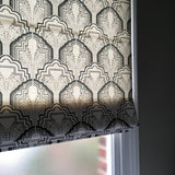 Gloria Onyx Black Fabric Roman Blind