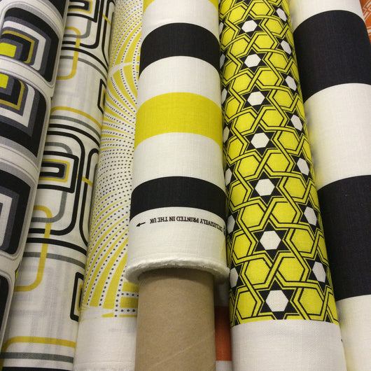 Midi Black And Yellow Stripe Linen Fabric