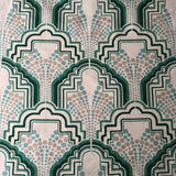 Gloria Mint Green Art Deco Linen Fabric