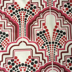 Gloria Berry Red Art Deco Linen Fabric