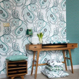Strawberry Fields Mint Green Wallpaper