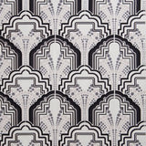 Gloria Onyx Black Art Deco Linen Fabric