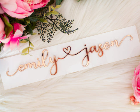 Rose Gold Mirror Couples Name Sign