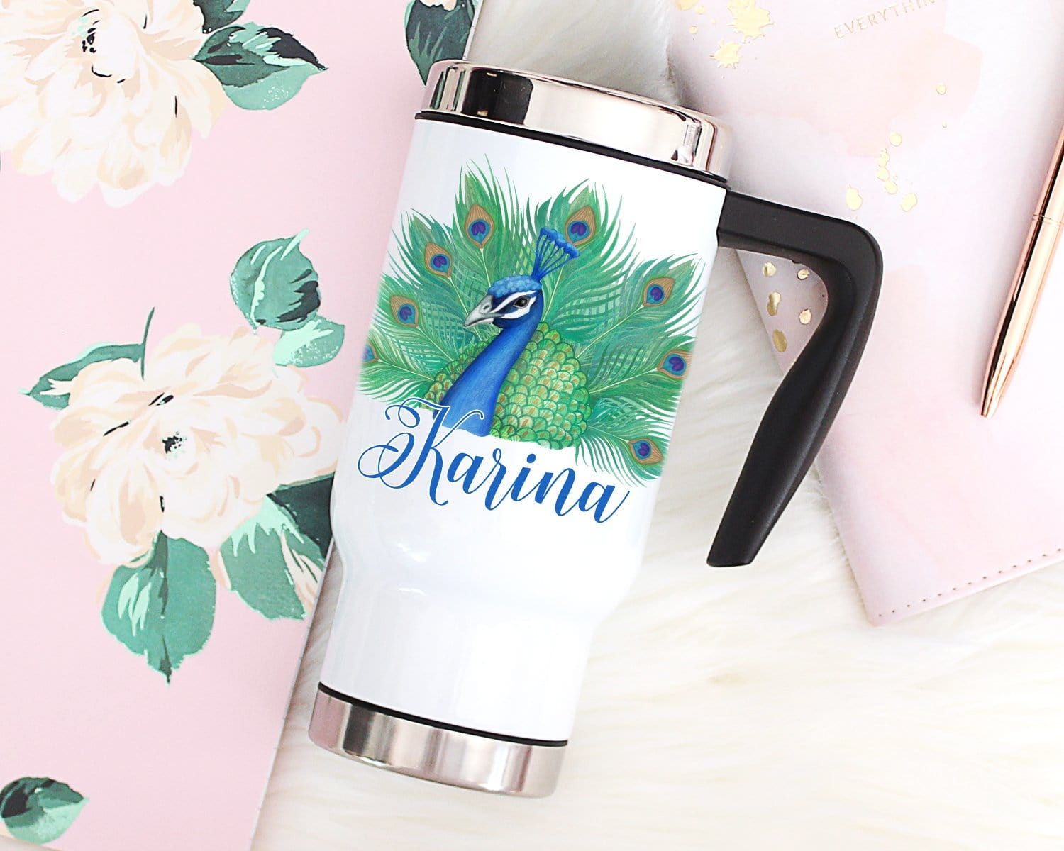 Personalized Name Peacock Travel Mug With Handle & Lid