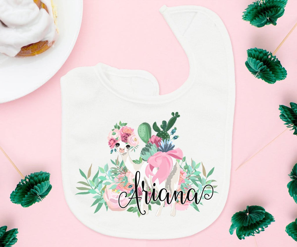 Personalized Llama Baby Bib Shower Gift