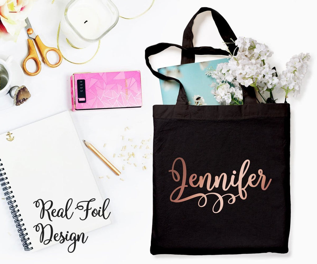 Rose Gold Foil Personalized Tote Bag Gift For Bridesmaid