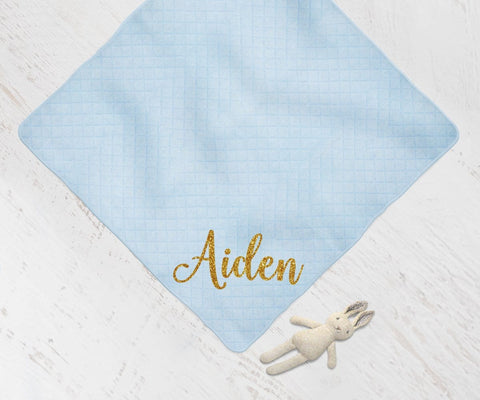 Personalized Baby Blue Swaddle Blanket Shower Gift