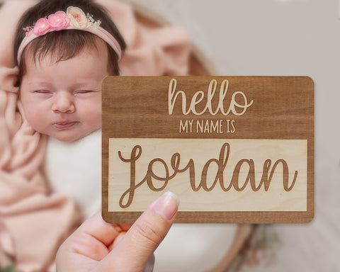 Hello My Name Is Custom Name Tag Baby Sign