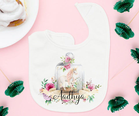 Personalized Unicorn Baby Bib First Birthday Photo Prop