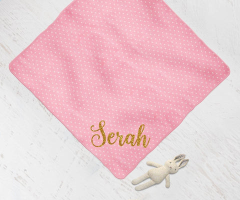 Personalized Pink And Gold Glitter Baby Swaddle Blanket Shower Gift