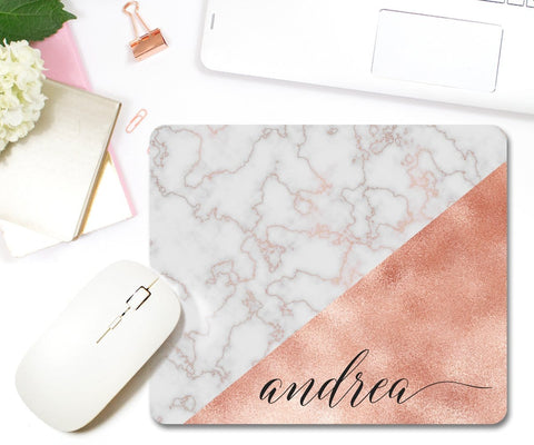 Personalized Rose Gold Marble Mouse Pad