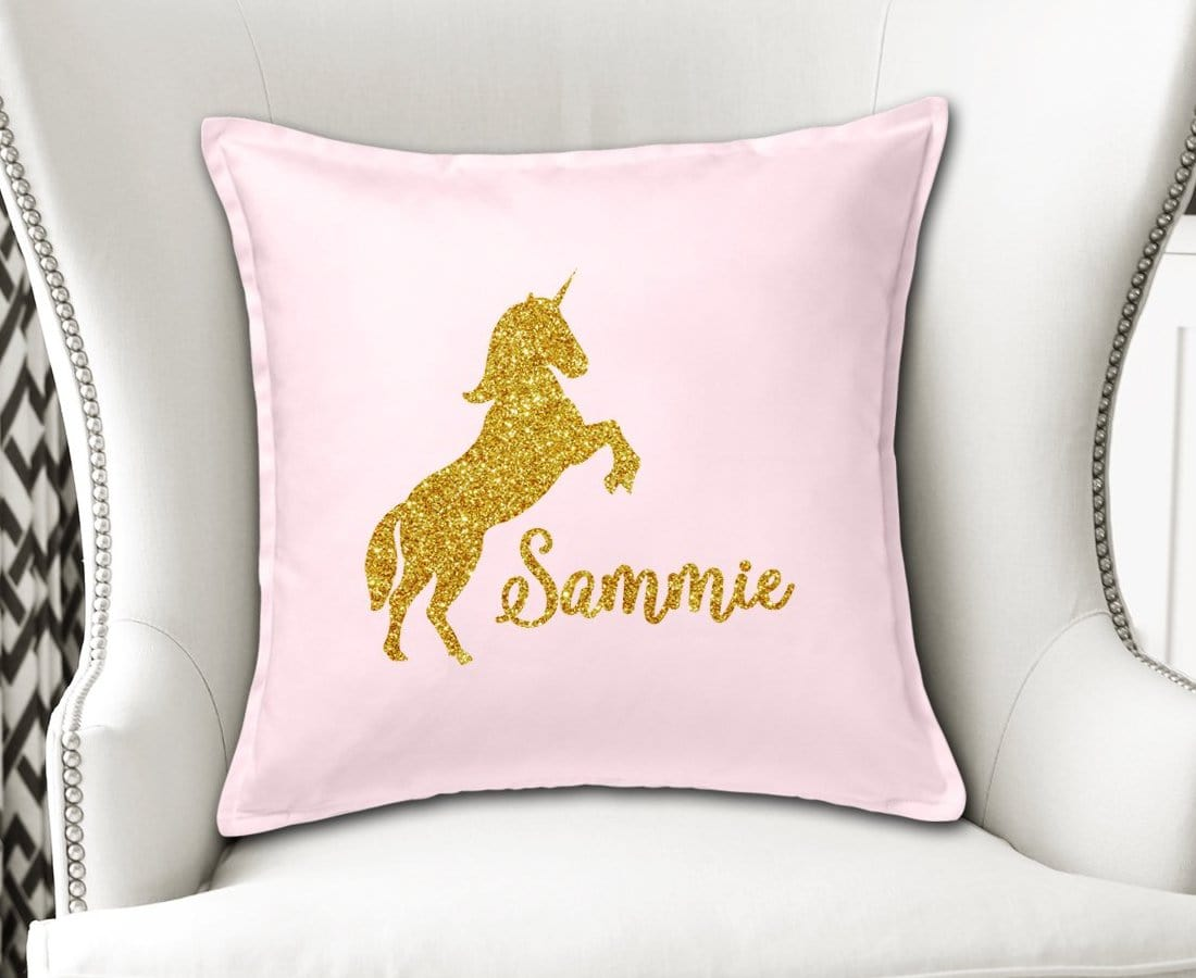 Personalized Unicorn Cushion Cover in Gold Glitter and Pink