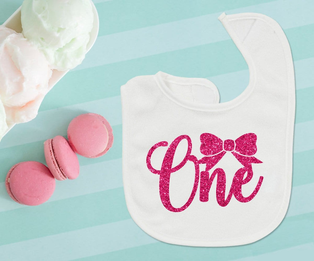 One Bib Bow First Birthday Girl Cake Smash Gold Glitter Photo Prop