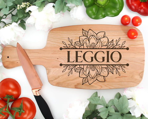 Personalized Magnolia Engraved Wood Cutting Board With Handle