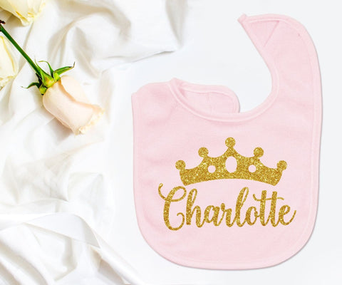 Personalized Monogrammed Baby Girl Bib Pink & Gold Crown