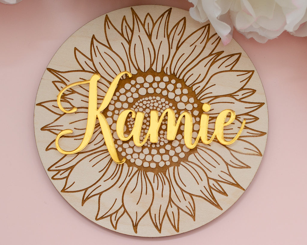 Sunflower Wood Engraved Personalized Name Sign