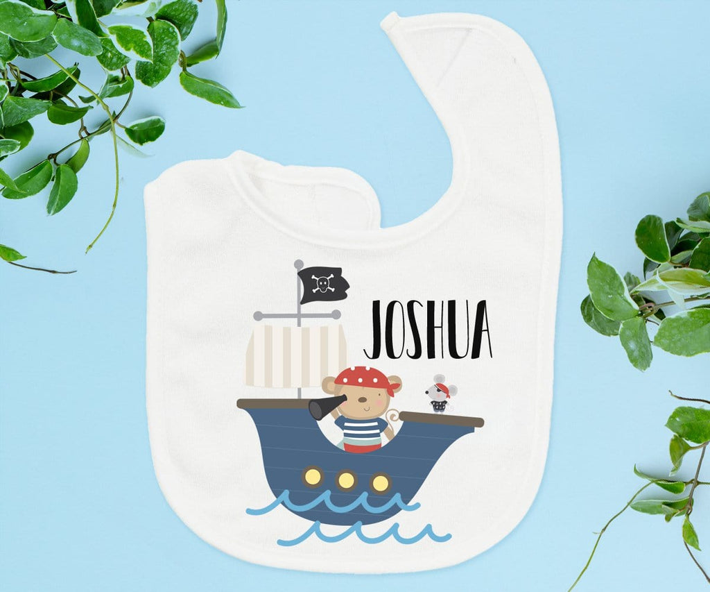 Baby Boy Personalized Gift Pirate & Monkey Personalized Baby Bib