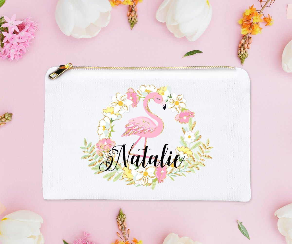 Personalized Flamingo Make-Up Bag