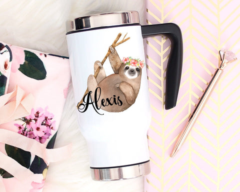 Sloth Gifts Personalized Travel Mug With Handle & Lid