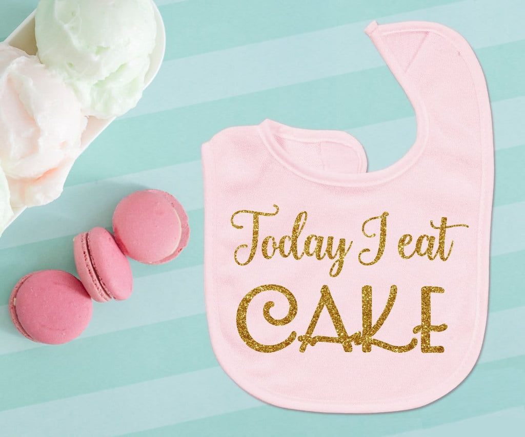 Today I Eat Cake First Birthday Cake Smash Glitter Baby Bib