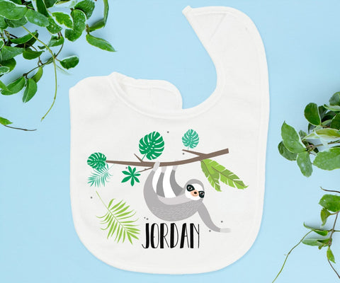 Sloth Baby Bib Personalized Baby Boy Gifts