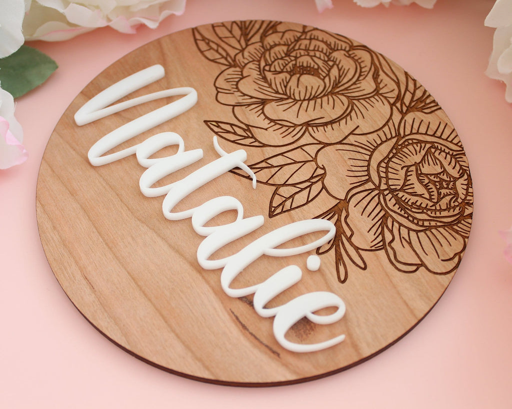 Wood Engraved Personalized Floral Baby Name Sign