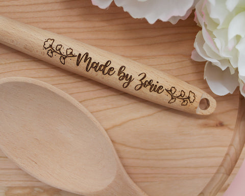 Engraved Personalized Wood Mixing Spoon