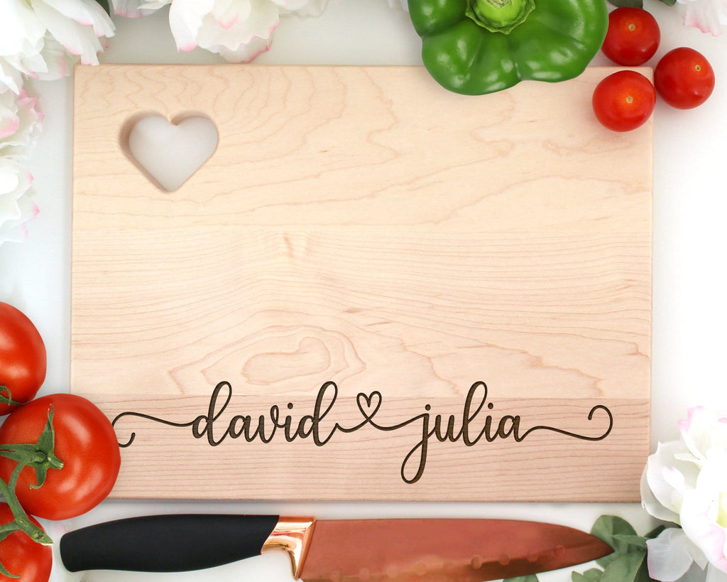 Custom Names Engraved Wood Cutting Board With Heart