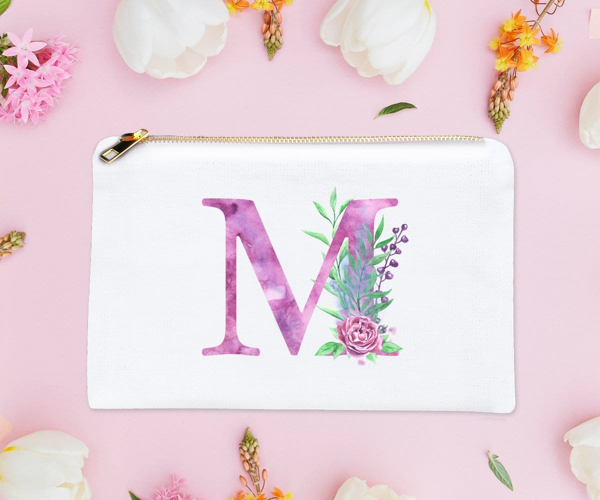 Monogram Initial Makeup Bag Purple Watercolor Pouch