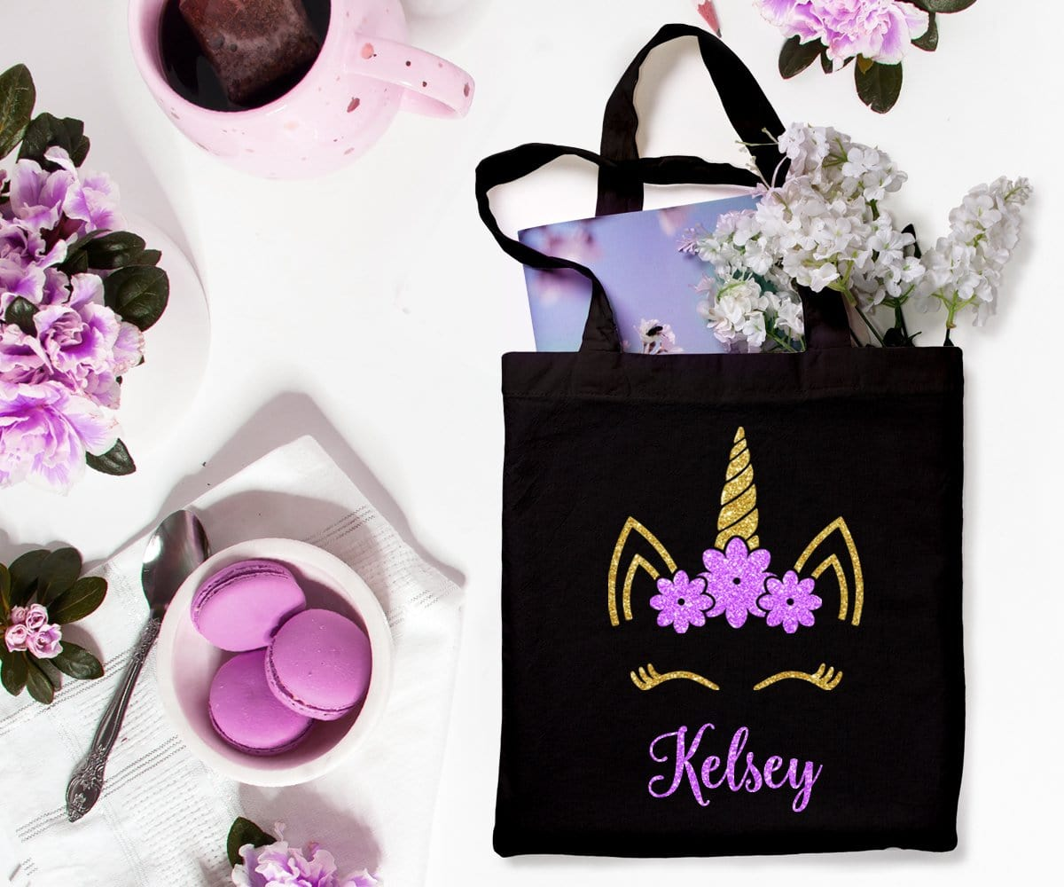 Personalized Glitter Unicorn Tote Bag Gift For Flower Girl