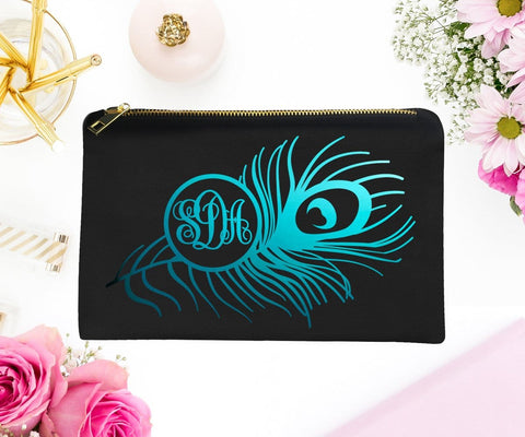 Monogram Peacock Feather Rose Gold Foil Makeup Bag