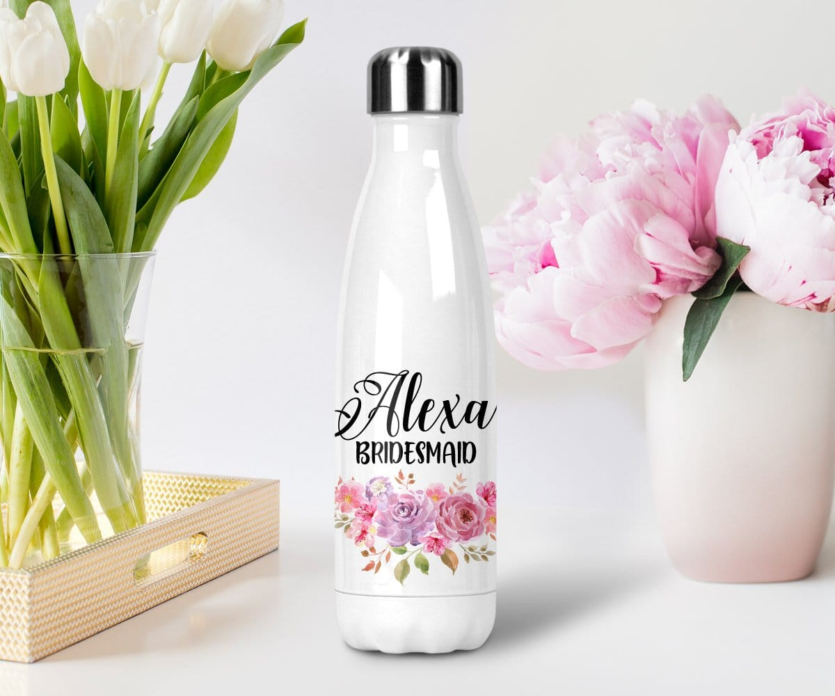 Personalized Bridesmaid Gift Pink And Purple Floral Water Bottle