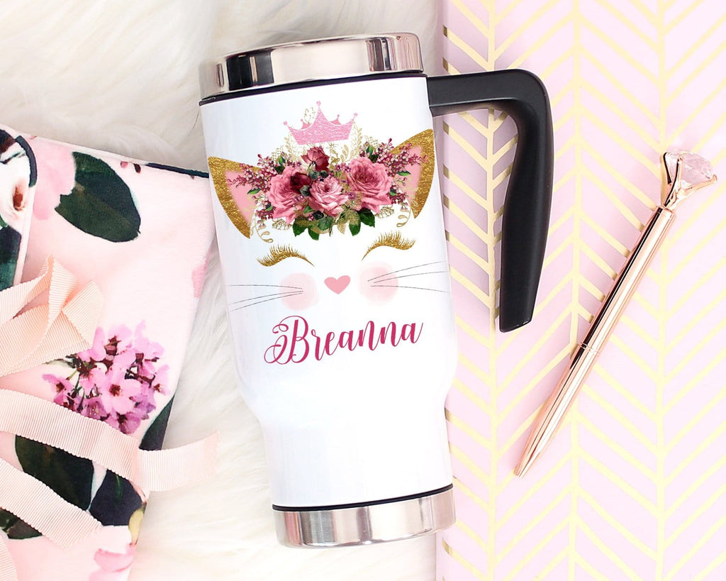 Personalized Cat Travel Mug With Handle & Lid