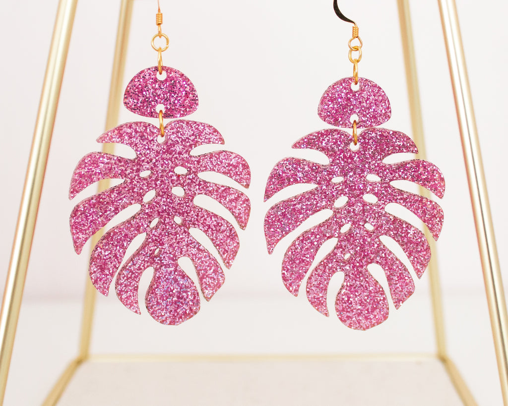 Glitter Monstera Leaf Acrylic Earrings