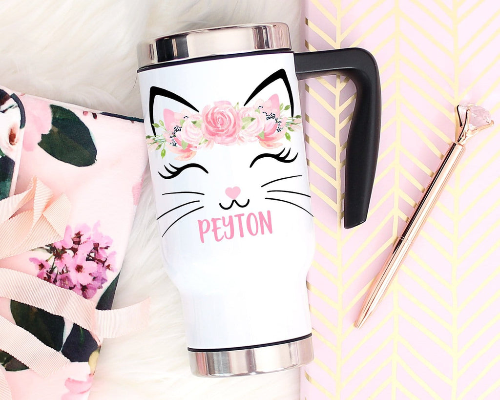 Cat Lover Gift Personalized Travel Mug With Handle & Lid