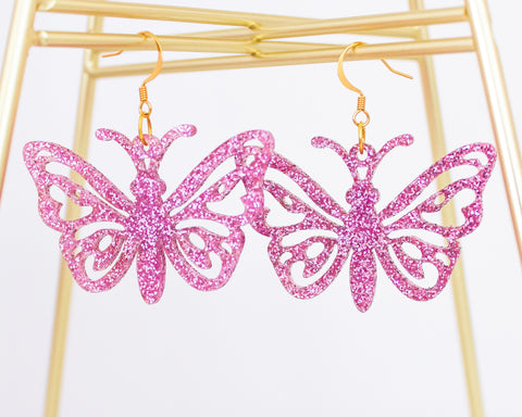 Glitter Butterfly Acrylic Earrings