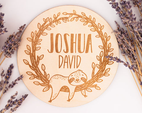 Engraved Sloth Boy Birth Announcement Sign