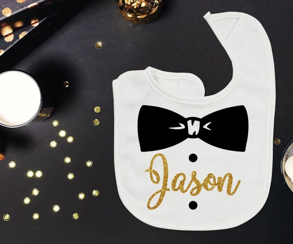 Personalized Name Baby Boy Bib Black & Gold Bow Tie Funny Gift