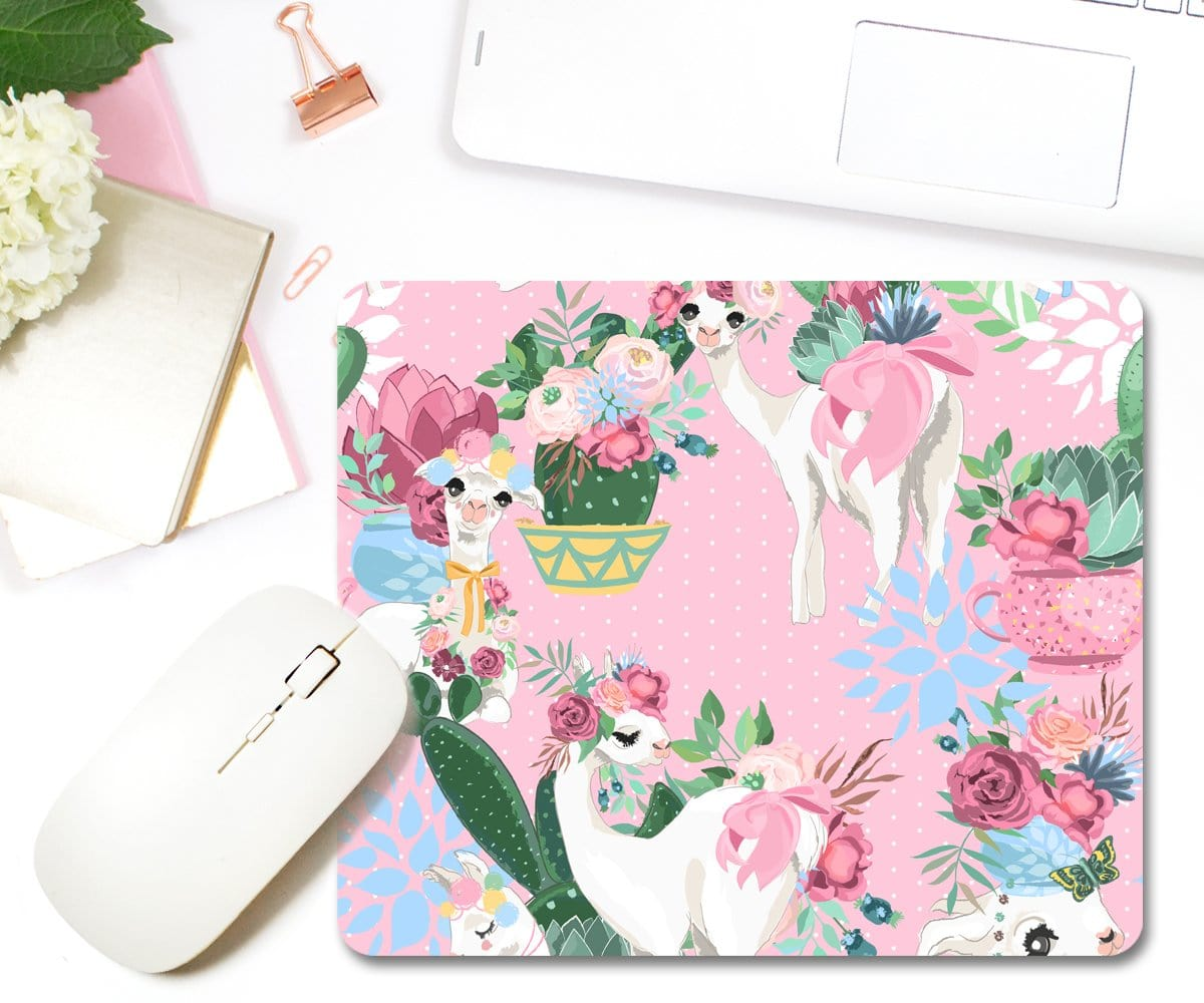 Llama & Cactus Mouse Pad Cute Office Desk Accessories