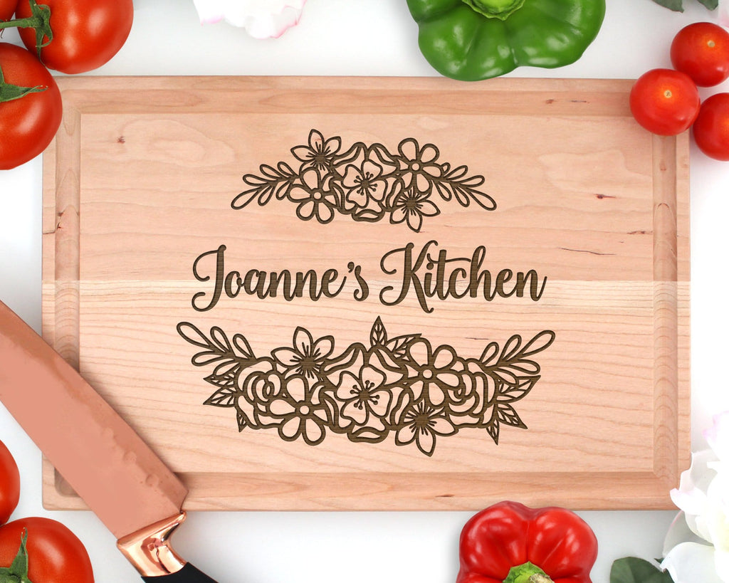 Personalized Engraved Wood Floral Name's Kitchen Rectangle Cutting Board