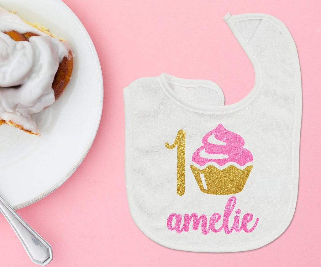 First Birthday Girl Bib With Cupcake Personalized Photo Prop