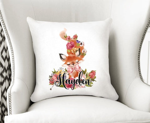 Personalized Woodland Nursery Decor Fox Velvet Cushion Cover
