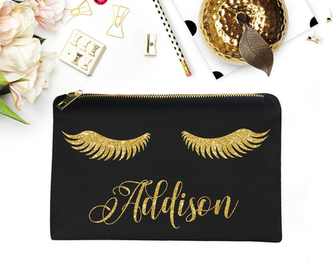 Eyelash Personalized Makeup Bag Custom Maid Of Honour Proposal Gift