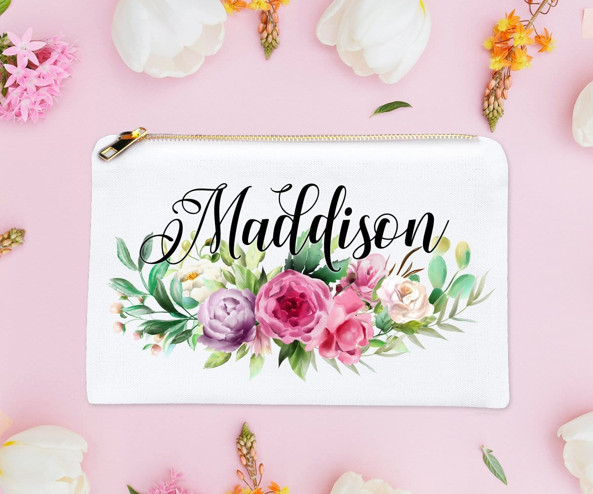 Personalized Bridesmaid Gift Pink Floral Makeup Bag