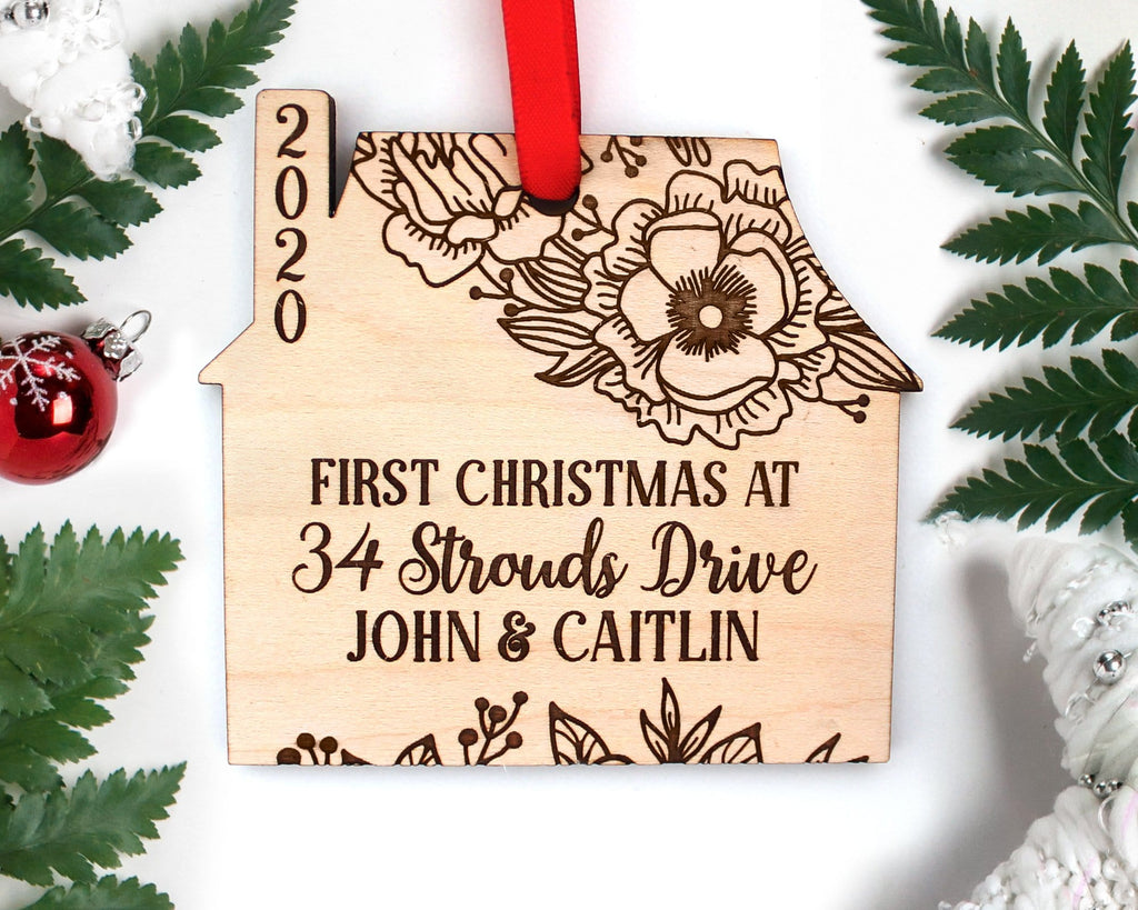 Custom First Christmas At Address Wood Engraved House Ornament