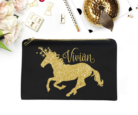 Unicorn Glitter Make-Up Bag Personalized Gift